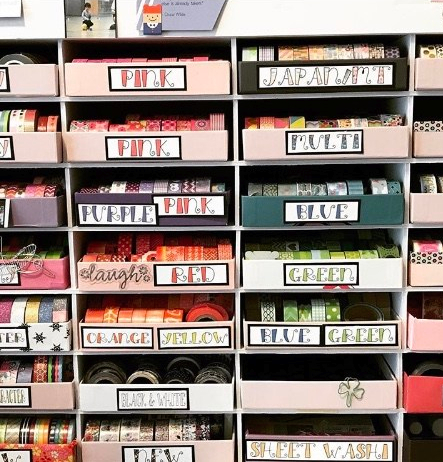 Colourful Washi Drawers with Labels