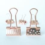 Rose gold stripes and polka dots binder clips