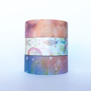 Watercolour washi tape with bubbles and stars