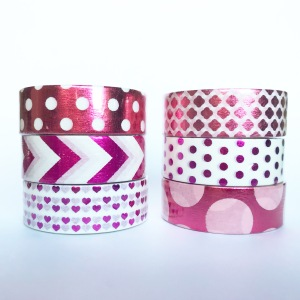 Hot pink and purple washi tape with chevron, polka dots, bubbles, hearts and quatrefoil