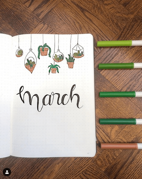 Picture of succulent plants in terracotta planters hanging above the word 'March' in a Bullet Journal