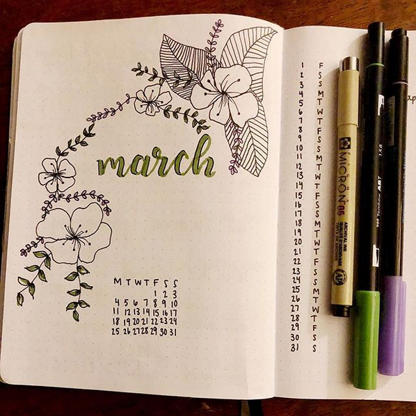 Illustrated flowers and petals surrounding the word 'March' with a calendar underneath in a Bullet Journal